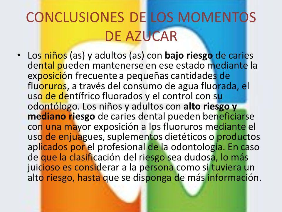 CONCLUSIONES DE LOS MOMENTOS DE AZUCAR