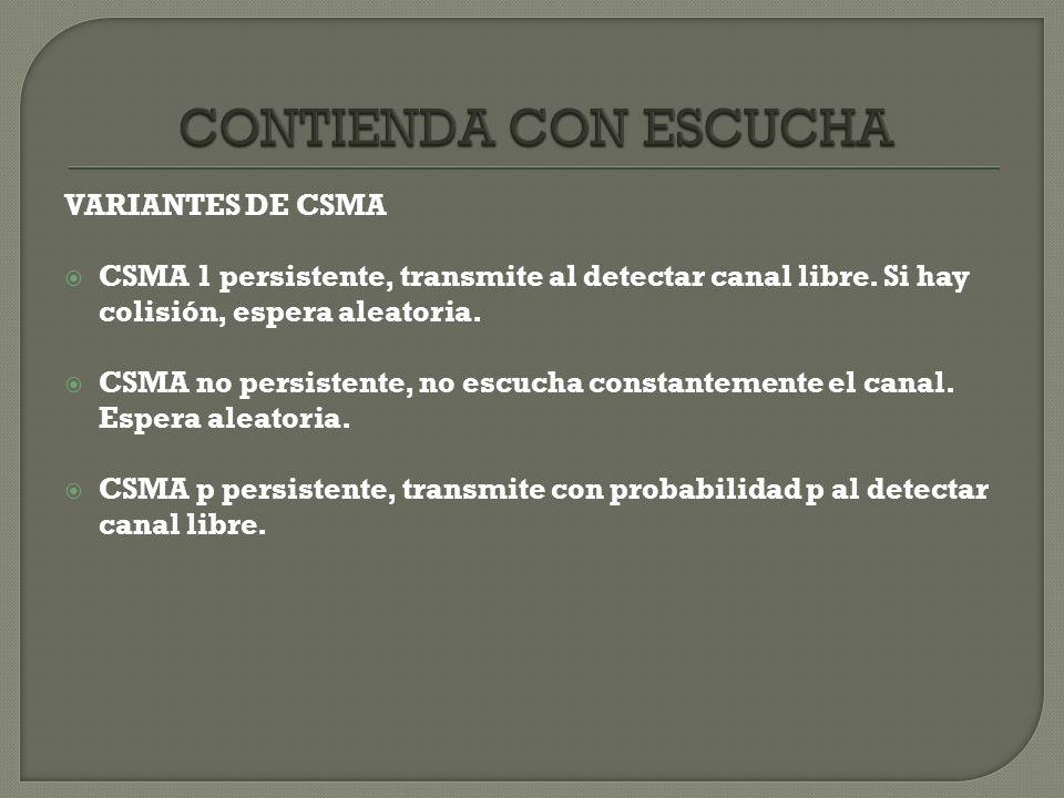 CONTIENDA CON ESCUCHA VARIANTES DE CSMA