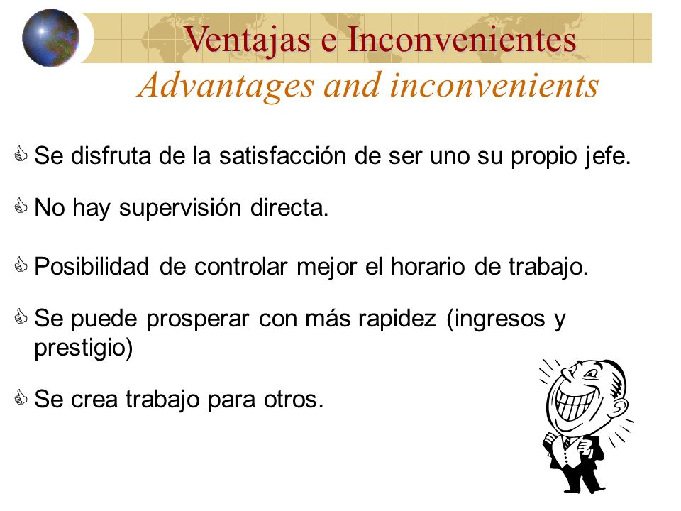 Advantages and inconvenients