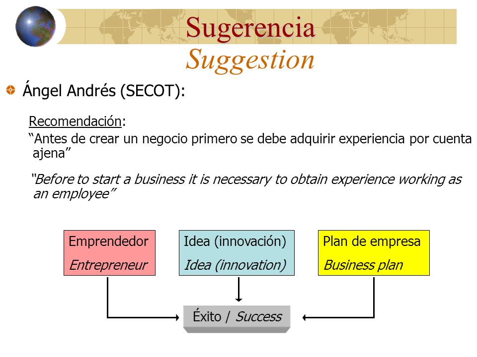 Sugerencia Suggestion Ángel Andrés (SECOT): Recomendación: