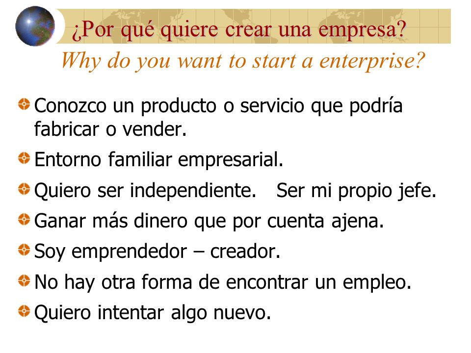 Why do you want to start a enterprise