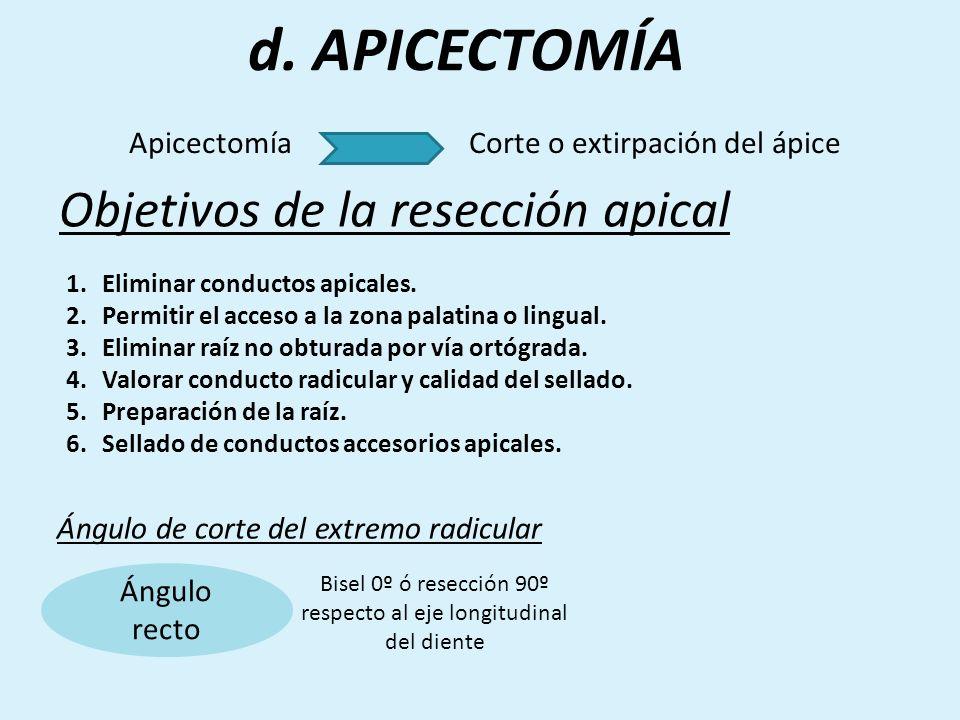 d. APICECTOMÍA Objetivos de la resección apical