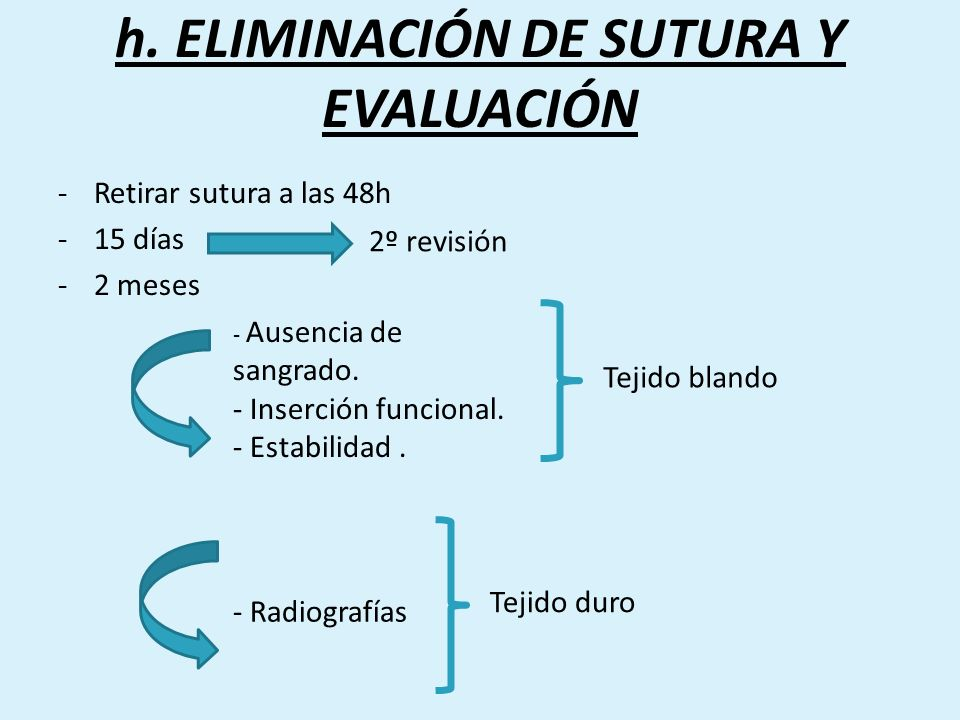h. ELIMINACIÓN DE SUTURA Y EVALUACIÓN