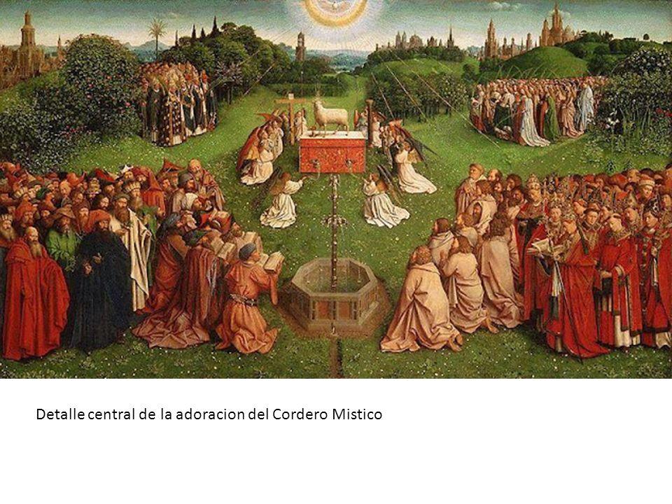 Detalle central de la adoracion del Cordero Mistico
