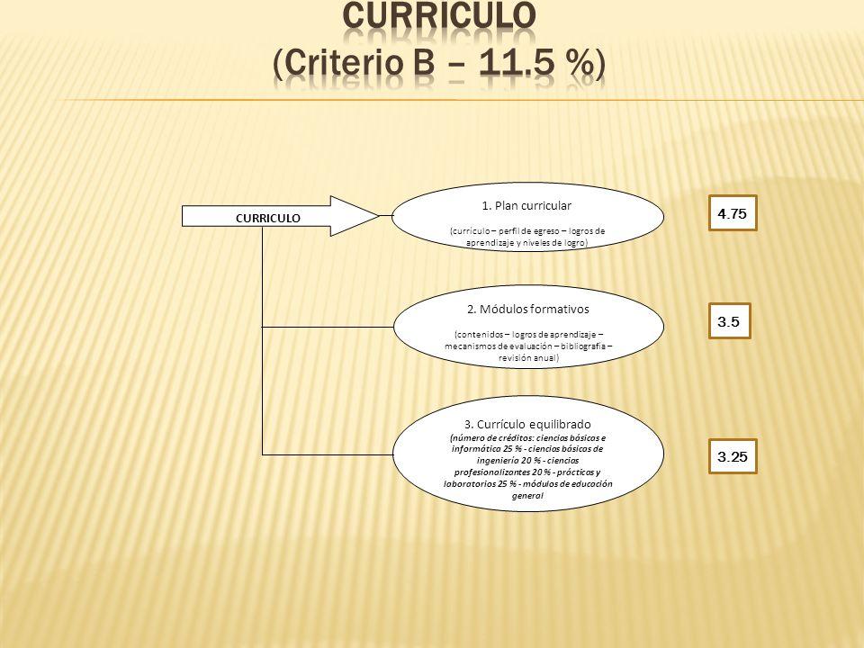 CURRÍCULO (Criterio B – 11.5 %)