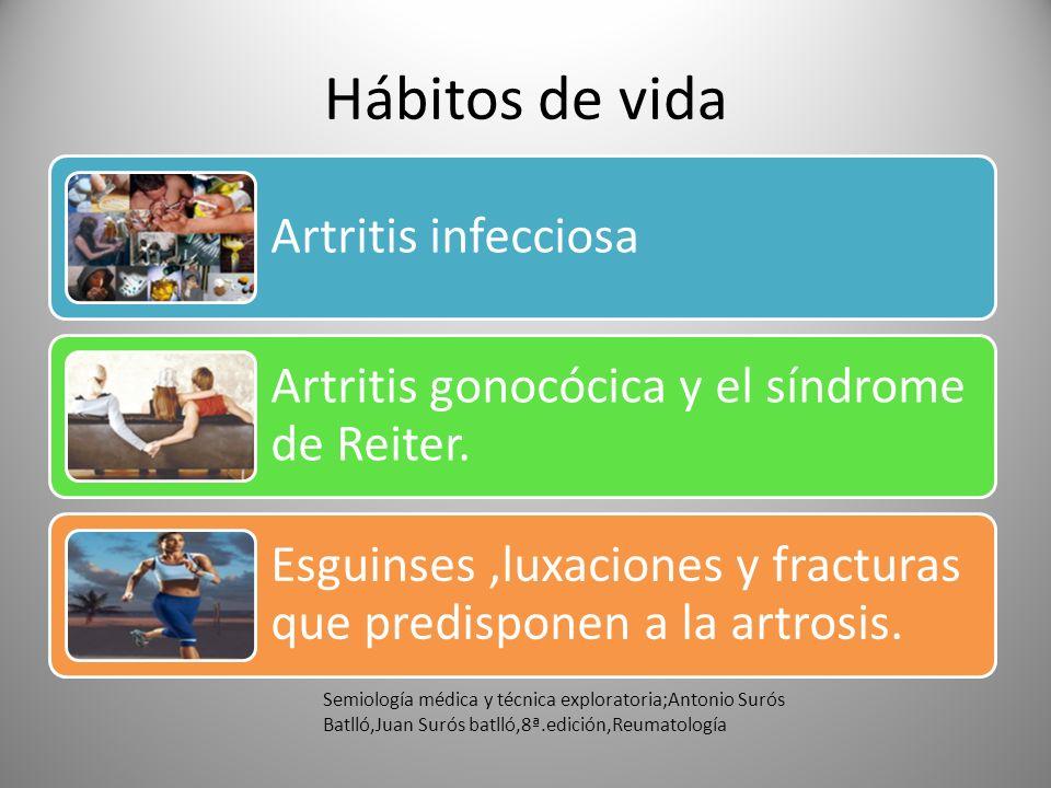 Hábitos de vida Artritis infecciosa. Artritis gonocócica y el síndrome de Reiter. Esguinses ,luxaciones y fracturas que predisponen a la artrosis.