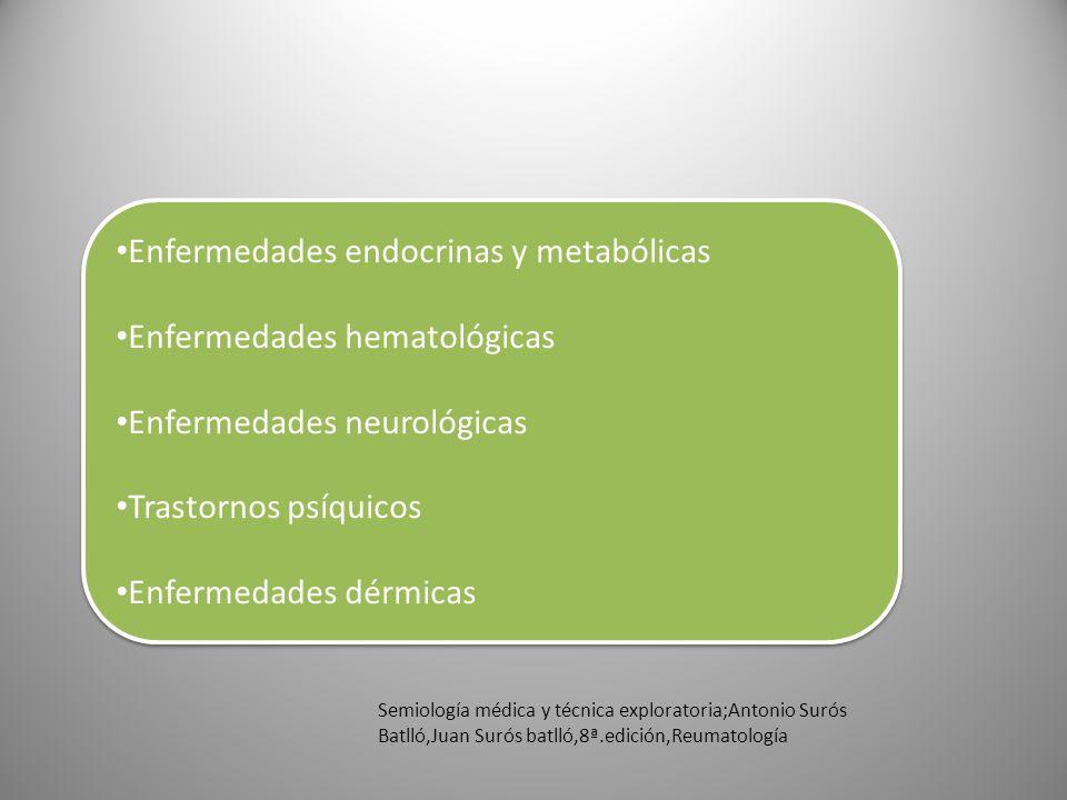 Enfermedades endocrinas y metabólicas Enfermedades hematológicas