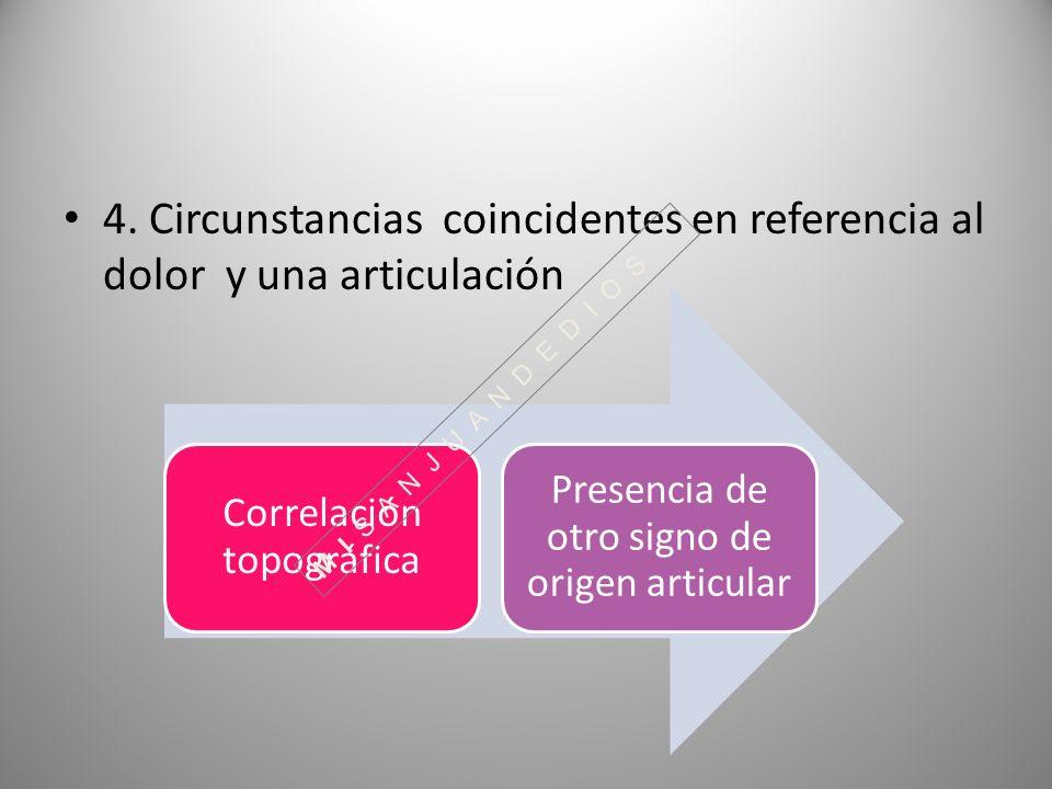 4. Circunstancias coincidentes en referencia al dolor y una articulación