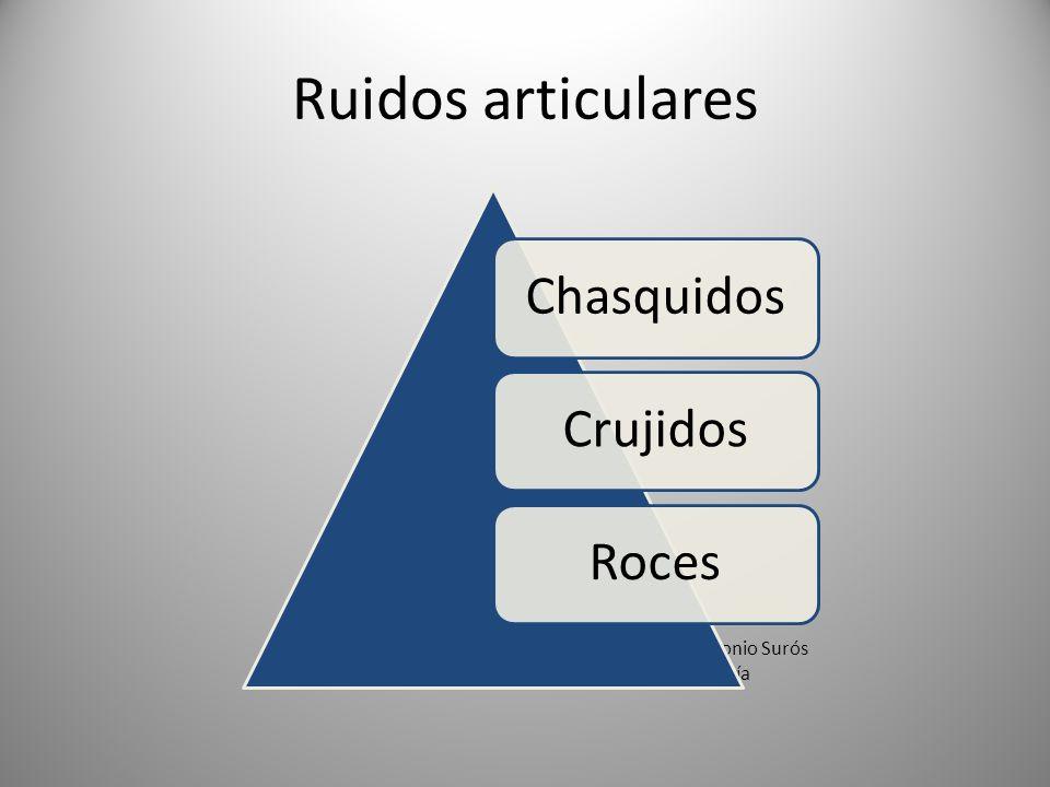 Ruidos articulares Chasquidos. Crujidos. Roces.