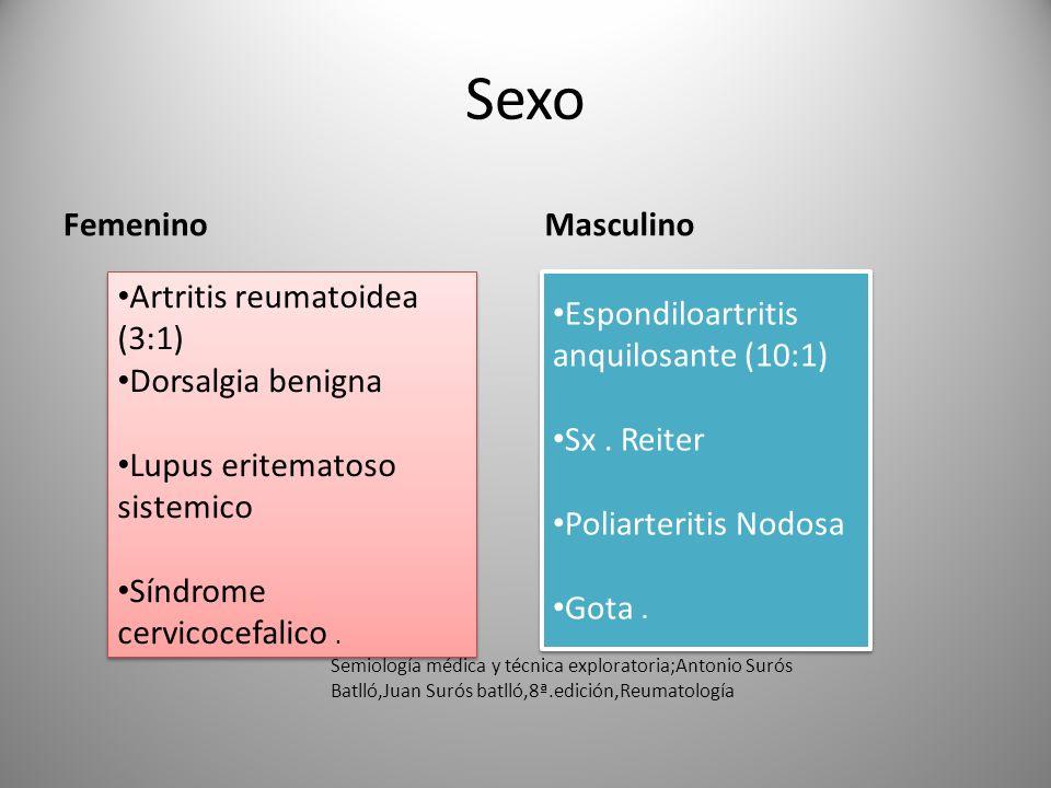 Sexo Femenino Masculino Artritis reumatoidea (3:1) Dorsalgia benigna