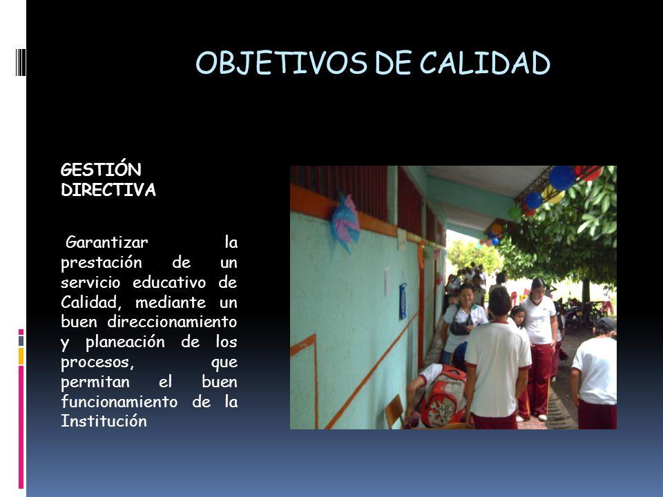 OBJETIVOS DE CALIDAD GESTIÓN DIRECTIVA