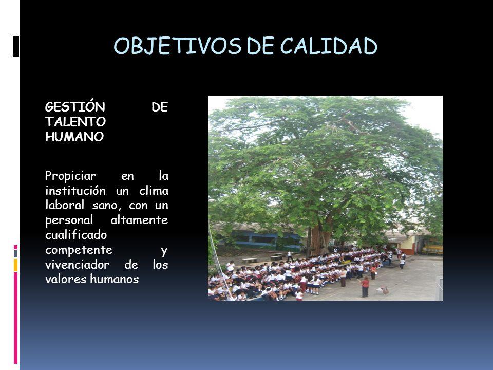 OBJETIVOS DE CALIDAD GESTIÓN DE TALENTO HUMANO