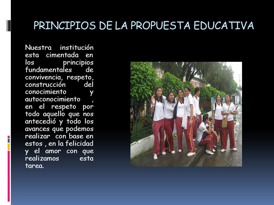 PRINCIPIOS DE LA PROPUESTA EDUCATIVA