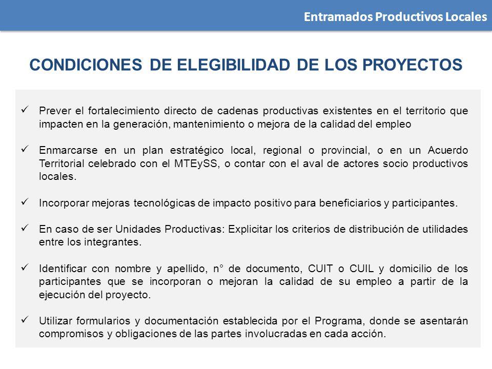 CONDICIONES DE ELEGIBILIDAD DE LOS PROYECTOS