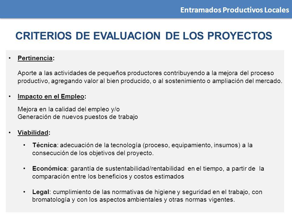 CRITERIOS DE EVALUACION DE LOS PROYECTOS