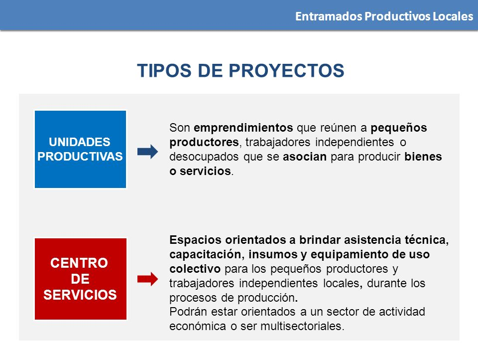 TIPOS DE PROYECTOS Entramados Productivos Locales CENTRO DE SERVICIOS