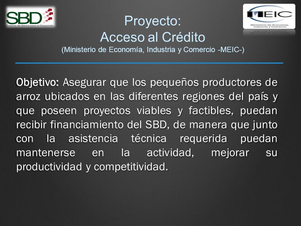 Proyecto: Acceso al Crédito (Ministerio de Economía, Industria y Comercio -MEIC-)