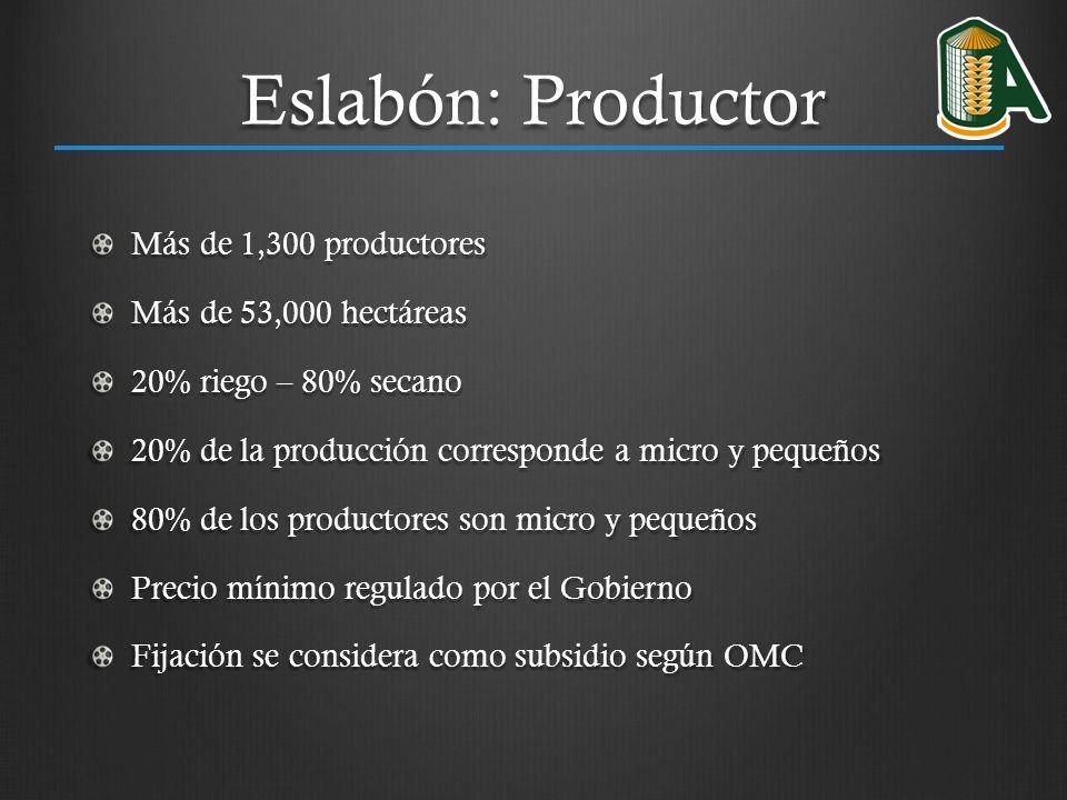 Eslabón: Productor Más de 1,300 productores Más de 53,000 hectáreas