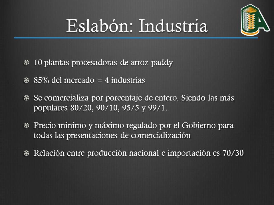 Eslabón: Industria 10 plantas procesadoras de arroz paddy
