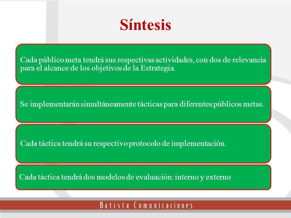 Síntesis Cada público meta tendrá sus respectivas actividades, con dos de relevancia para el alcance de los objetivos de la Estrategia.