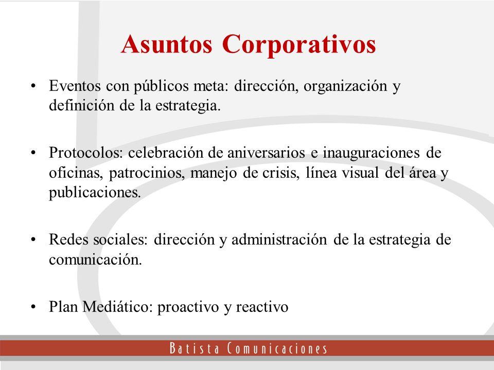 Asuntos Corporativos Eventos con públicos meta: dirección, organización y definición de la estrategia.