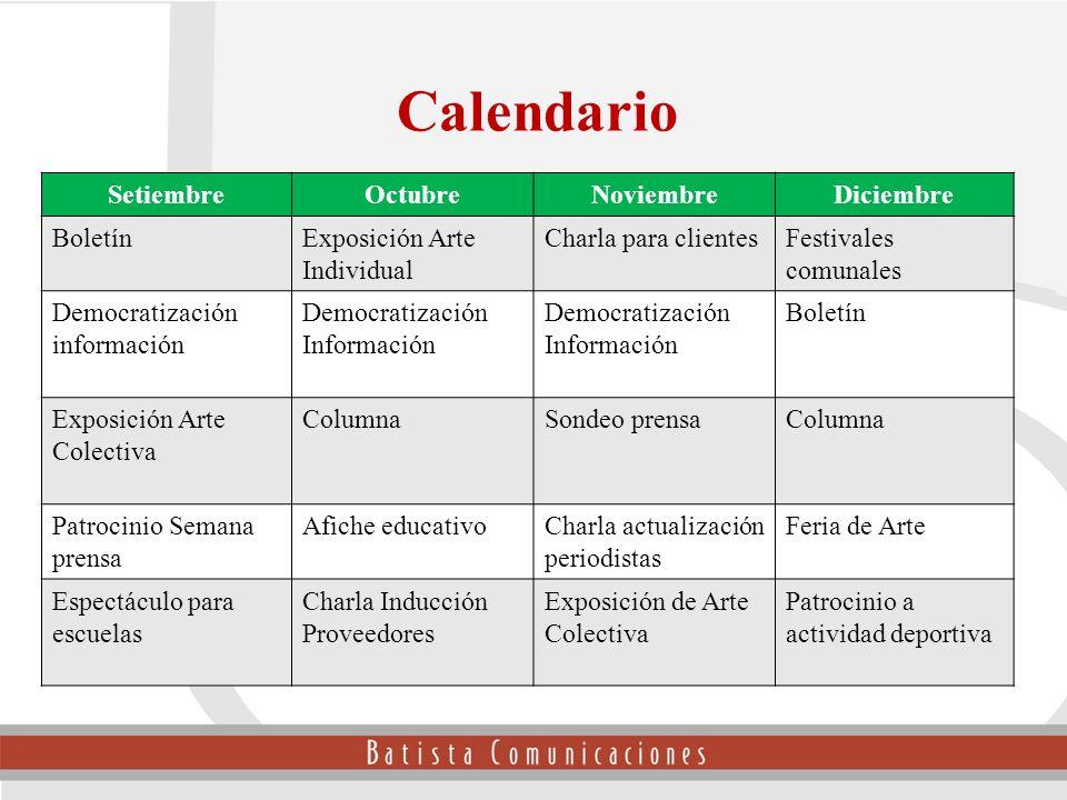 Calendario Setiembre Octubre Noviembre Diciembre Boletín