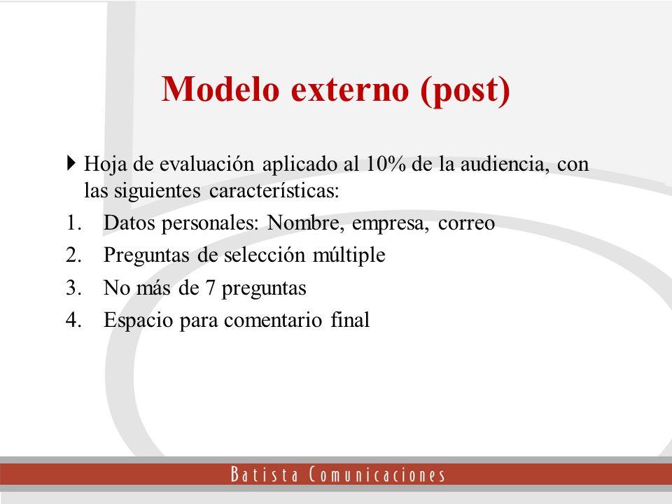 Modelo externo (post) Hoja de evaluación aplicado al 10% de la audiencia, con las siguientes características: