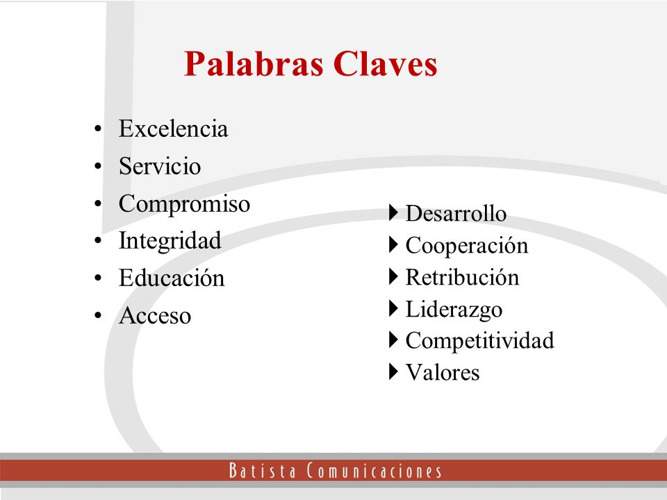 Palabras Claves Excelencia Servicio Compromiso Integridad Educación