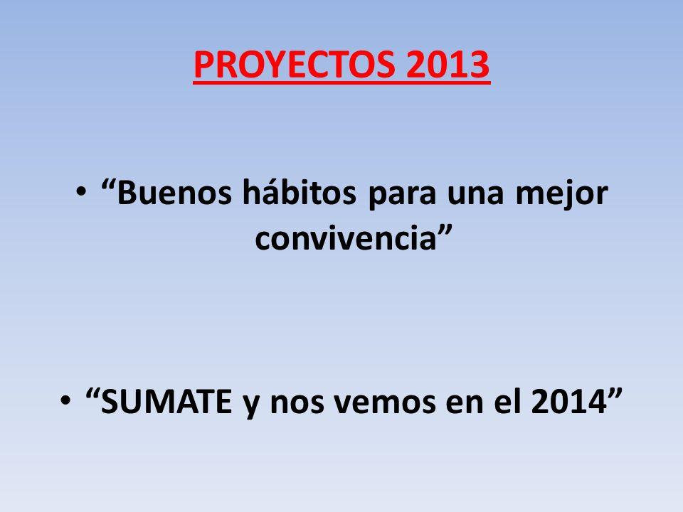 PROYECTOS 2013 Buenos hábitos para una mejor convivencia