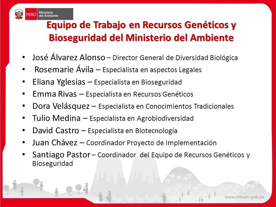 Equipo de Trabajo en Recursos Genéticos y Bioseguridad del Ministerio del Ambiente