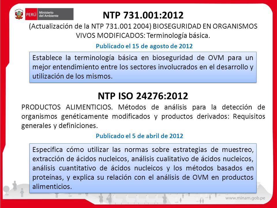 NTP 731. 001:2012 (Actualización de la NTP 731