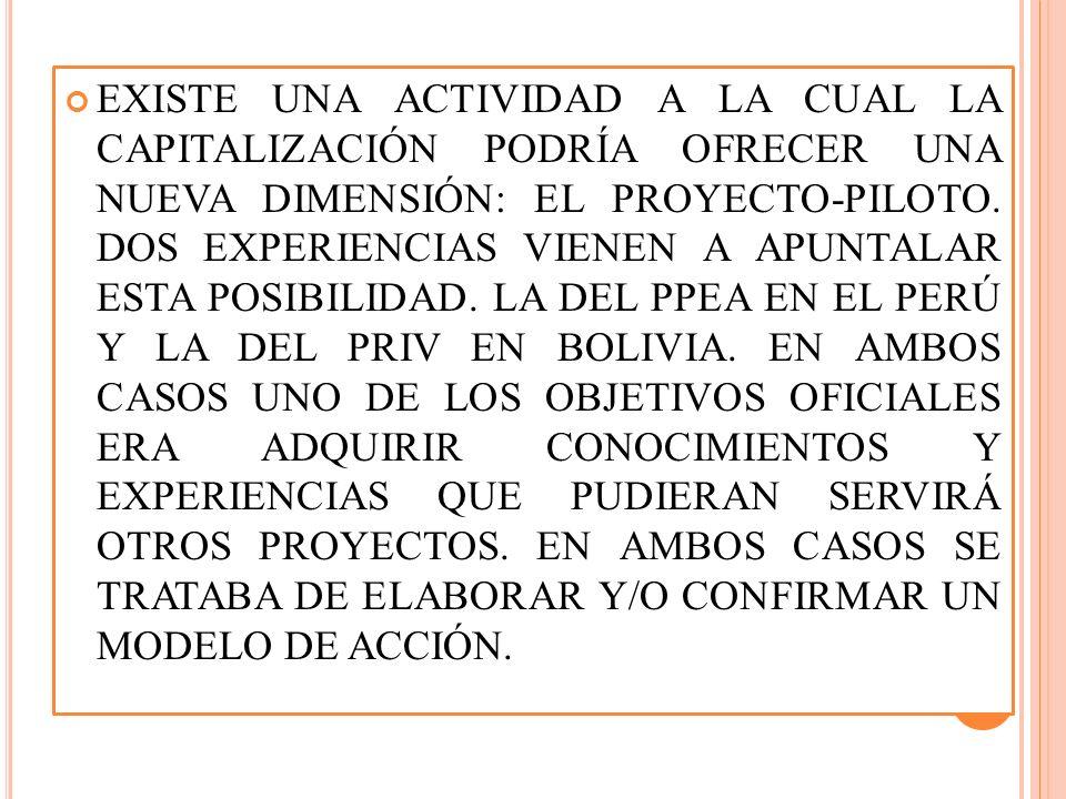 EXISTE UNA ACTIVIDAD A LA CUAL LA CAPITALIZACIÓN PODRÍA OFRECER UNA NUEVA DIMENSIÓN: EL PROYECTO-PILOTO.