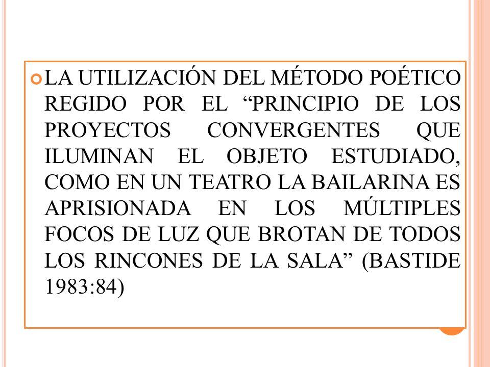 LA UTILIZACIÓN DEL MÉTODO POÉTICO REGIDO POR EL PRINCIPIO DE LOS PROYECTOS CONVERGENTES QUE ILUMINAN EL OBJETO ESTUDIADO, COMO EN UN TEATRO LA BAILARINA ES APRISIONADA EN LOS MÚLTIPLES FOCOS DE LUZ QUE BROTAN DE TODOS LOS RINCONES DE LA SALA (BASTIDE 1983:84)