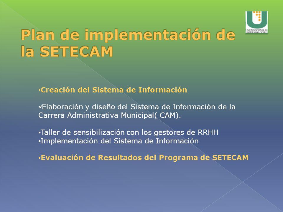 Plan de implementación de la SETECAM