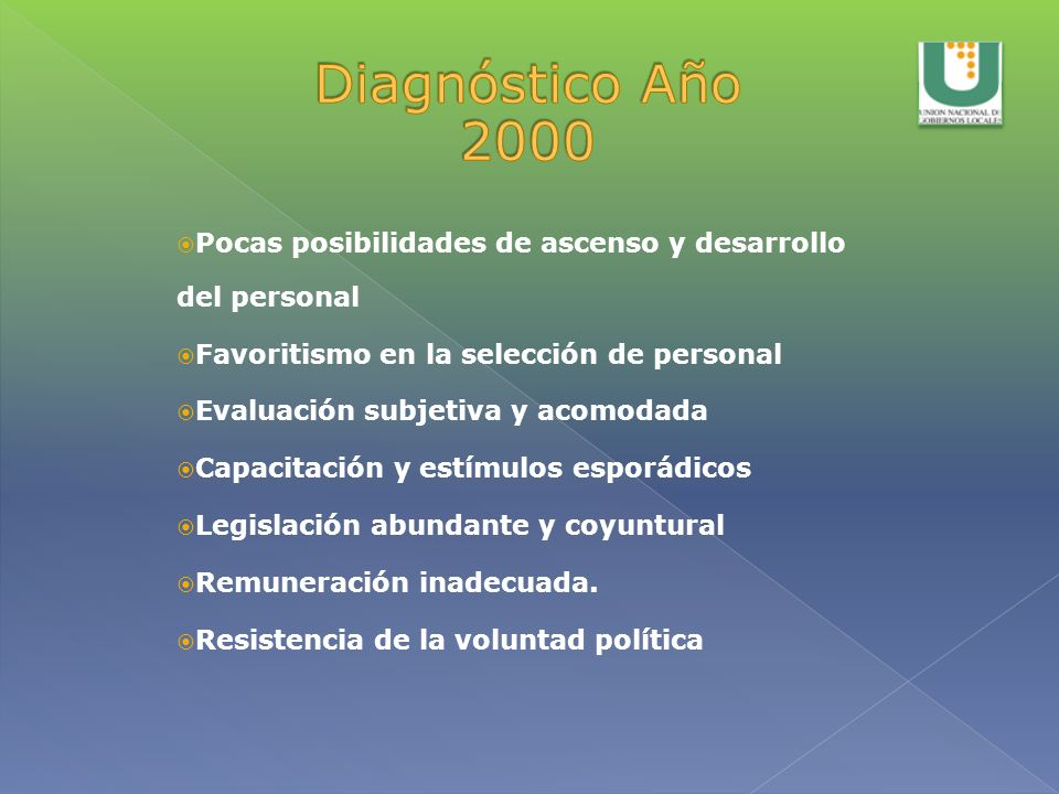 Diagnóstico Año 2000 Pocas posibilidades de ascenso y desarrollo del personal. Favoritismo en la selección de personal.