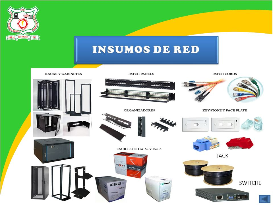 INSUMOS DE RED JACK SWITCHE