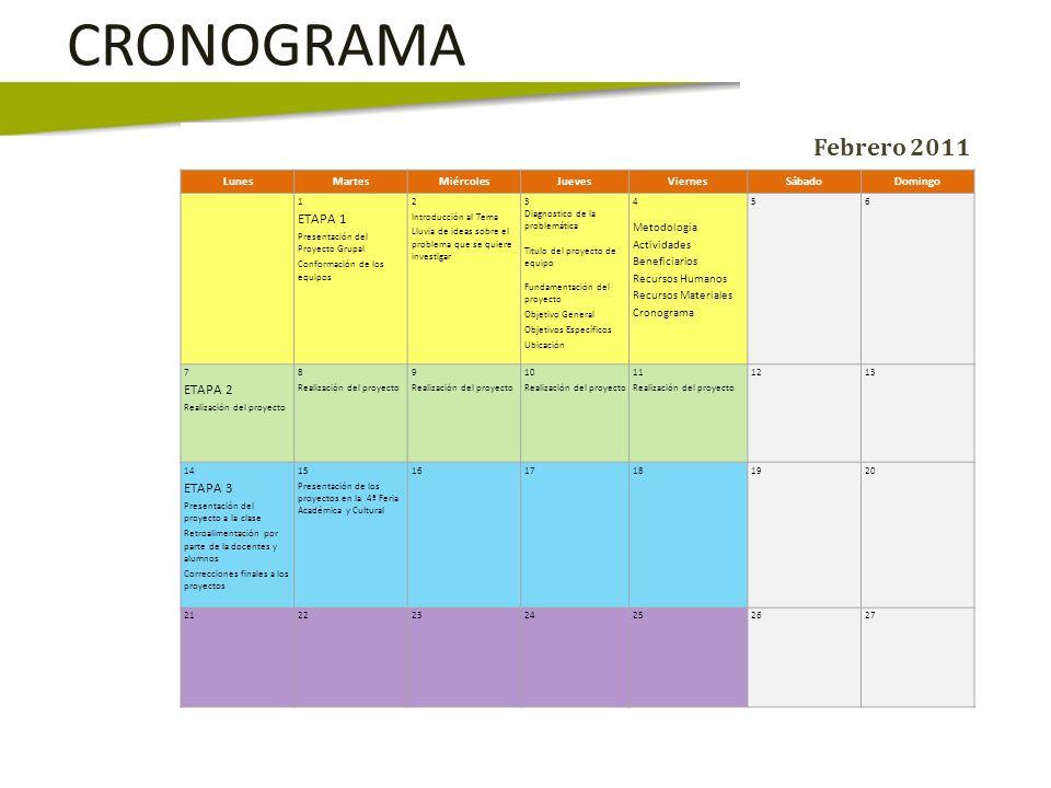 CRONOGRAMA Febrero 2011 ETAPA 1 ETAPA 2 ETAPA 3 Lunes Martes Miércoles