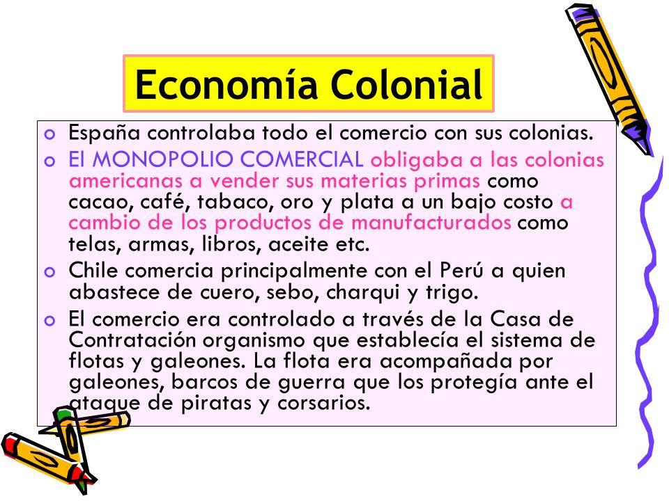 Economía Colonial España controlaba todo el comercio con sus colonias.