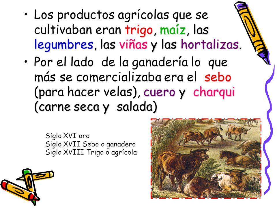 Los productos agrícolas que se cultivaban eran trigo, maíz, las legumbres, las viñas y las hortalizas.