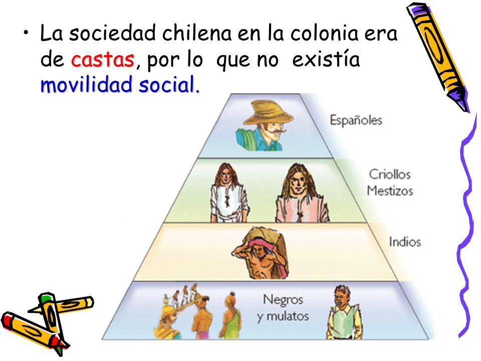 La sociedad chilena en la colonia era de castas, por lo que no existía movilidad social.