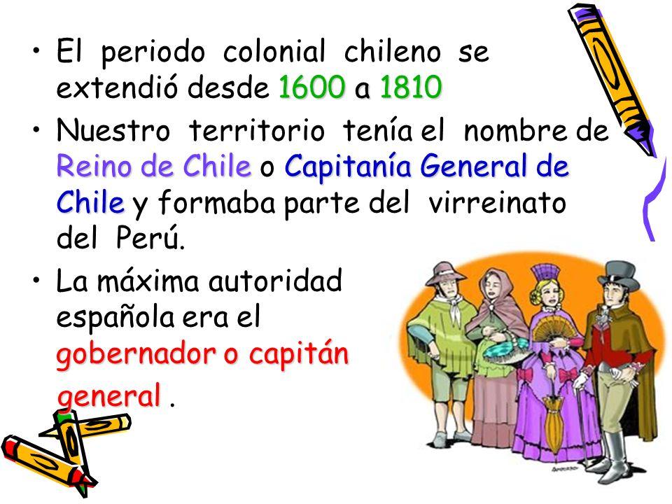 El periodo colonial chileno se extendió desde 1600 a 1810