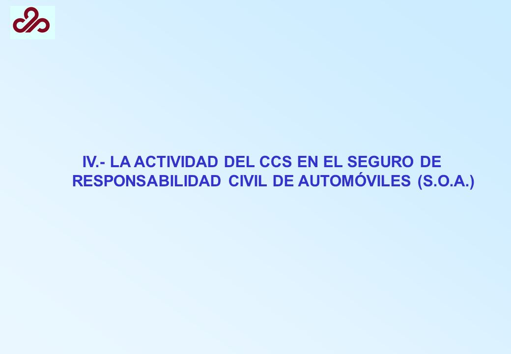 IV.- LA ACTIVIDAD DEL CCS EN EL SEGURO DE RESPONSABILIDAD CIVIL DE AUTOMÓVILES (S.O.A.)