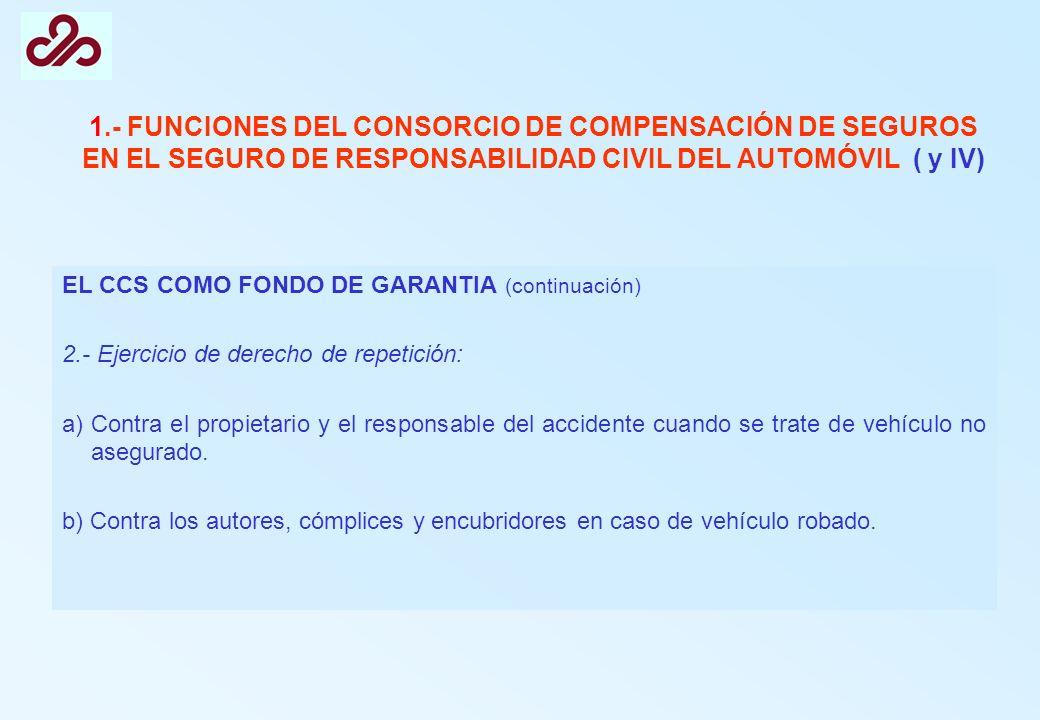 1.- FUNCIONES DEL CONSORCIO DE COMPENSACIÓN DE SEGUROS EN EL SEGURO DE RESPONSABILIDAD CIVIL DEL AUTOMÓVIL ( y IV)
