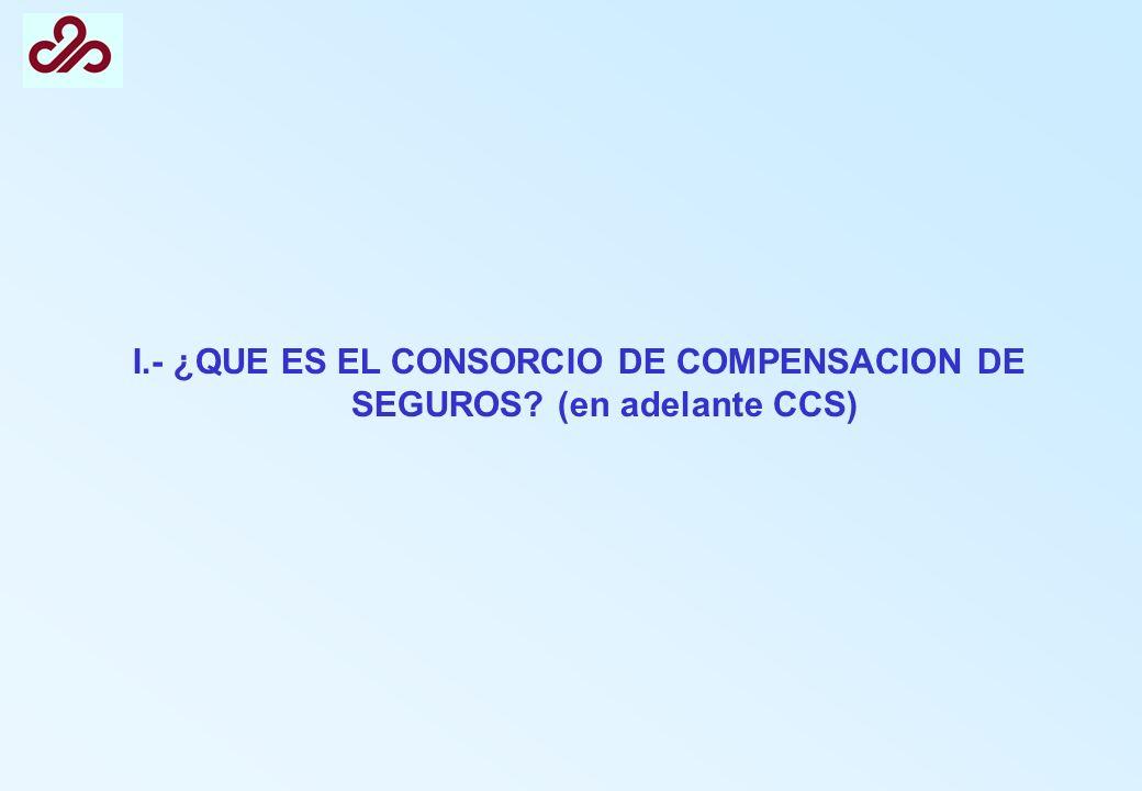 I.- ¿QUE ES EL CONSORCIO DE COMPENSACION DE SEGUROS (en adelante CCS)