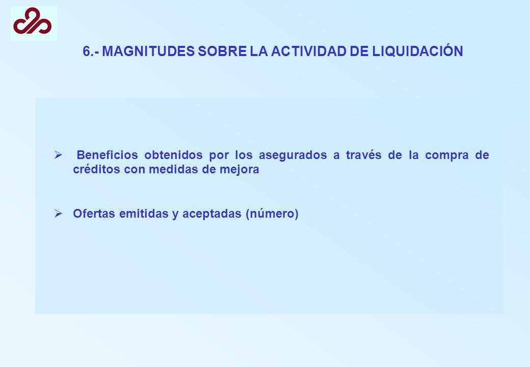 6.- MAGNITUDES SOBRE LA ACTIVIDAD DE LIQUIDACIÓN