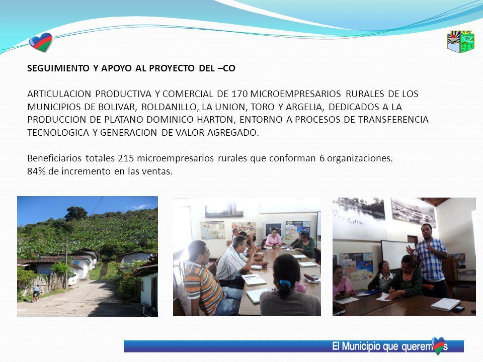 SEGUIMIENTO Y APOYO AL PROYECTO DEL –CO ARTICULACION PRODUCTIVA Y COMERCIAL DE 170 MICROEMPRESARIOS RURALES DE LOS MUNICIPIOS DE BOLIVAR, ROLDANILLO, LA UNION, TORO Y ARGELIA, DEDICADOS A LA PRODUCCION DE PLATANO DOMINICO HARTON, ENTORNO A PROCESOS DE TRANSFERENCIA TECNOLOGICA Y GENERACION DE VALOR AGREGADO.