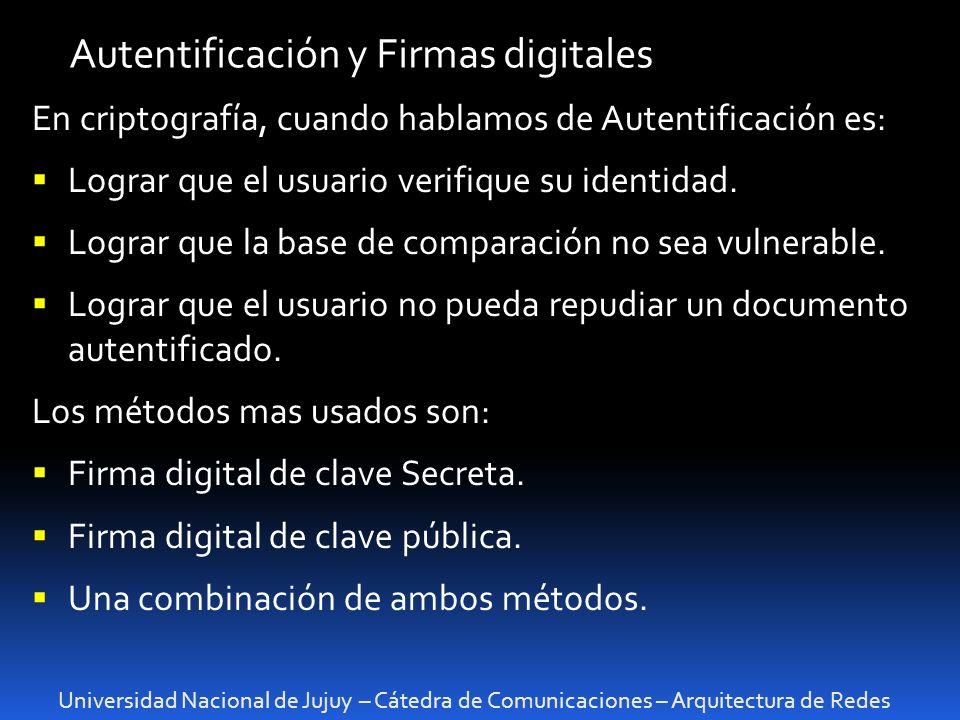 Autentificación y Firmas digitales