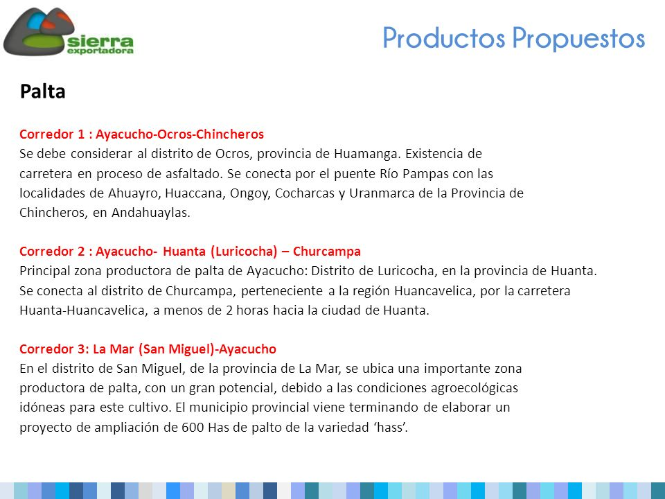 Productos Propuestos Palta Corredor 1 : Ayacucho-Ocros-Chincheros