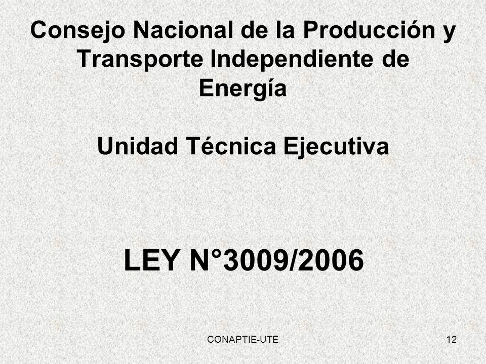Consejo Nacional de la Producción y Transporte Independiente de Energía Unidad Técnica Ejecutiva