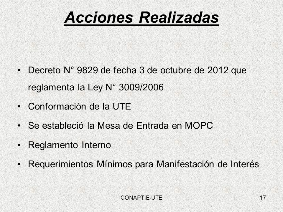 Acciones Realizadas Decreto N° 9829 de fecha 3 de octubre de 2012 que reglamenta la Ley N° 3009/2006.